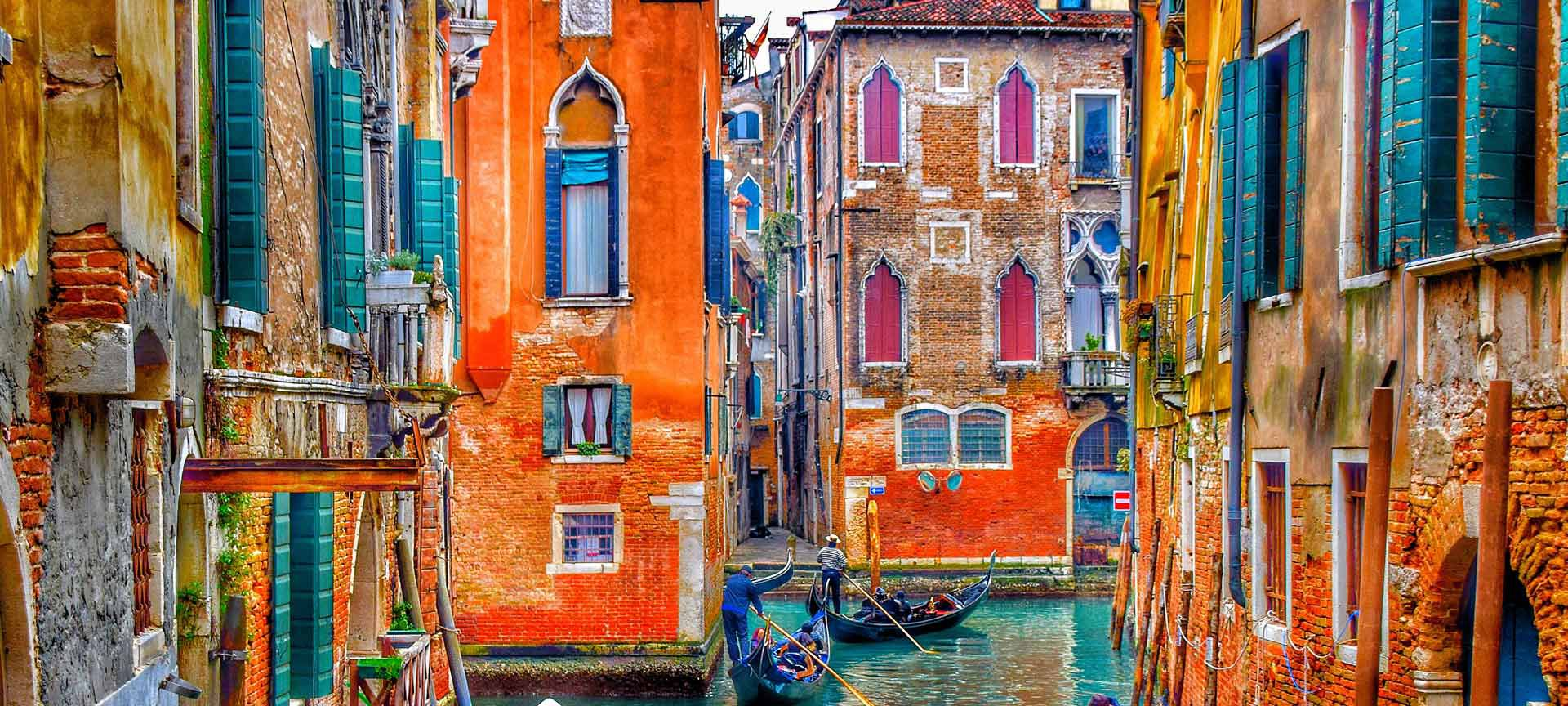 Painted building in Venice Italy