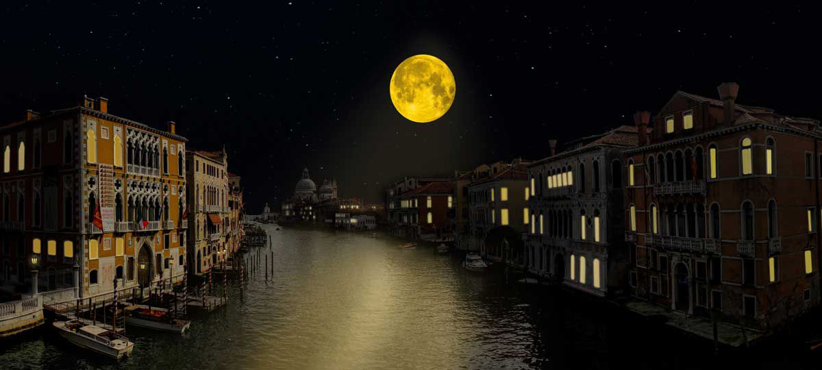 Moonrise over Grand Canal Venice italy